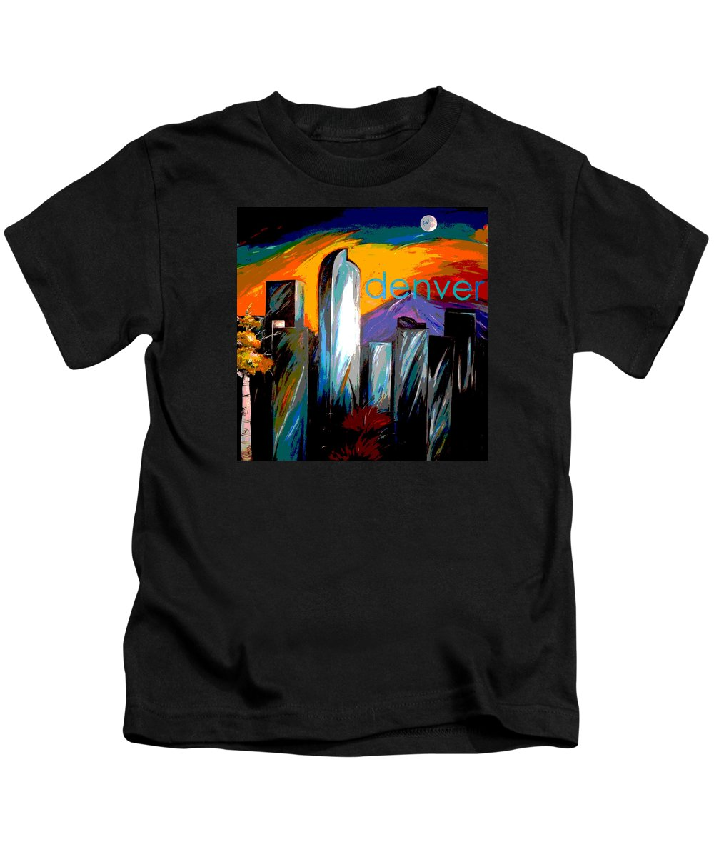 Skyline Kids T-Shirt featuring the painting Denver Skyline by Jean Habeck