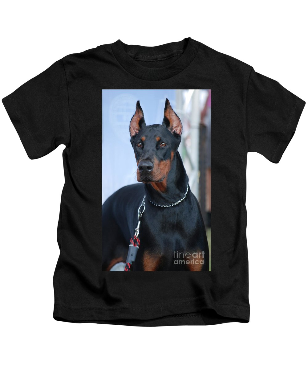 Doberman Pinscher Kids T-Shirt featuring the photograph Doberman Pinscher by Amir Paz