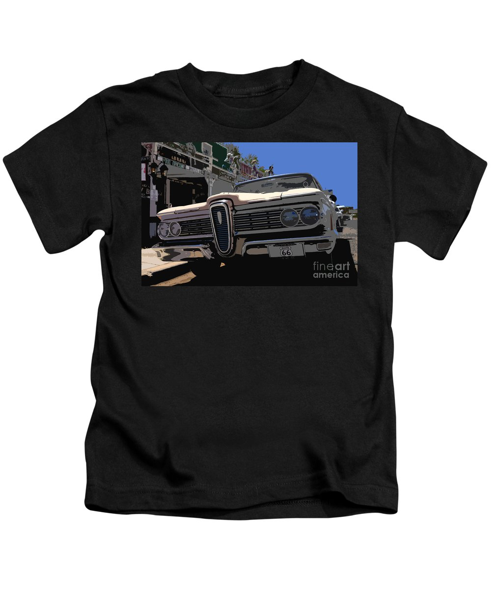 Route 66 Kids T-Shirt featuring the painting Edsel On Route 66 by David Lee Thompson