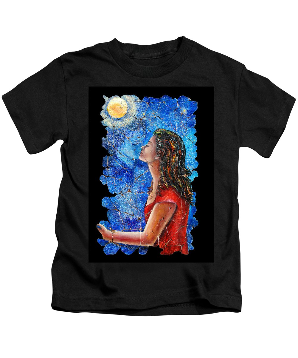 Adieu Kids T-Shirt featuring the painting Farewell 2 by Lena Owens OLena Art