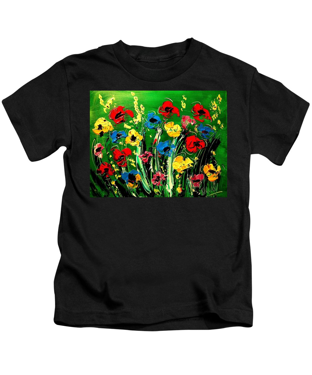 Flowers Kids T-Shirt featuring the painting Flowers by Mark Kazav
