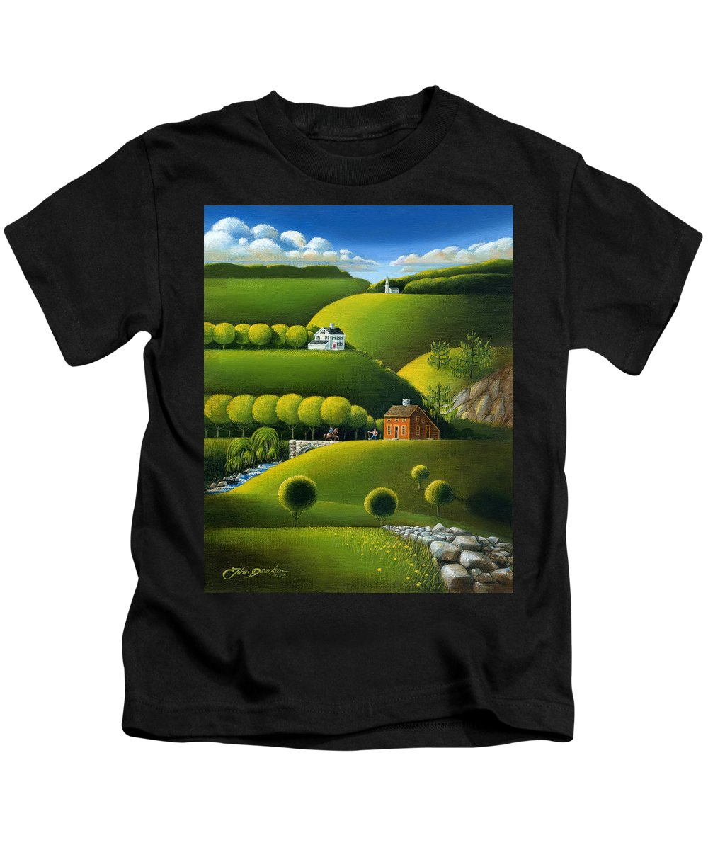 Deecken Kids T-Shirt featuring the painting Foothills Of The Berkshires by John Deecken