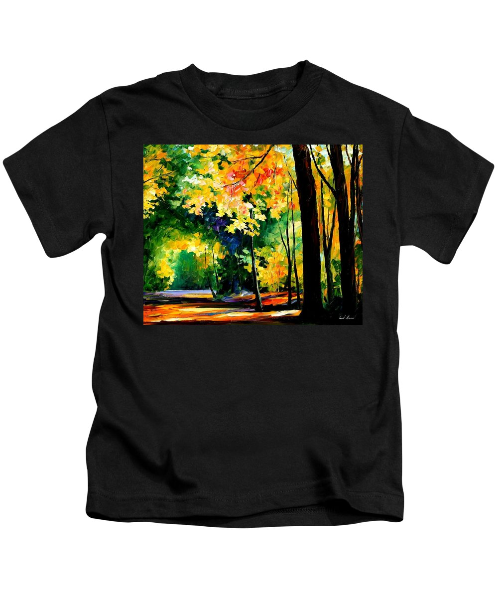 Landscape Kids T-Shirt featuring the painting Forest by Leonid Afremov