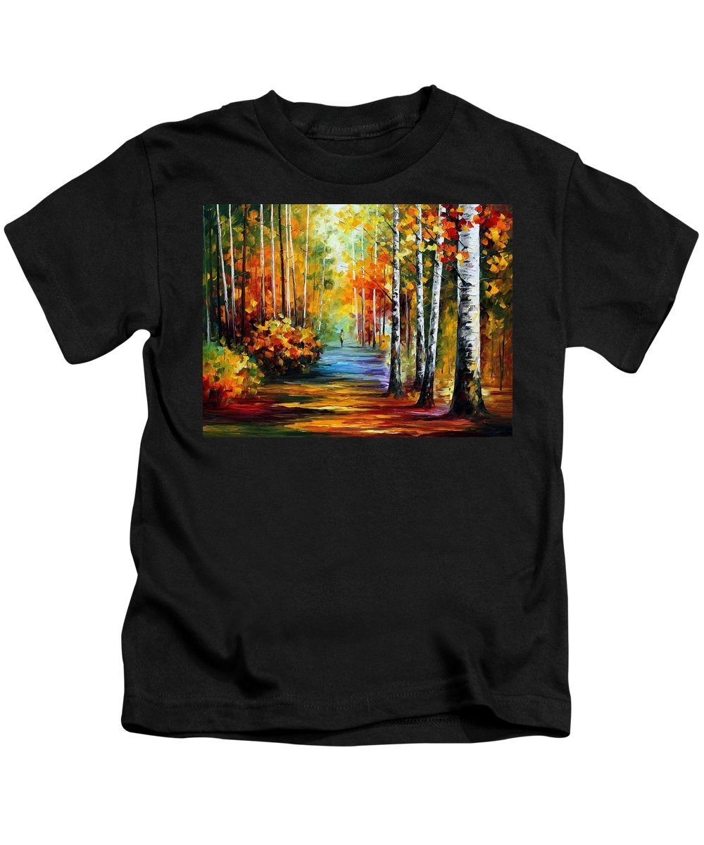 Andscape Kids T-Shirt featuring the painting Forest Road by Leonid Afremov