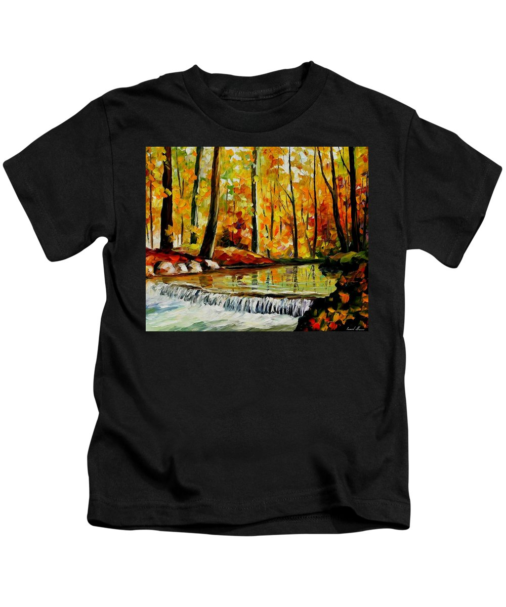 Afremov Kids T-Shirt featuring the painting Forest Stream by Leonid Afremov