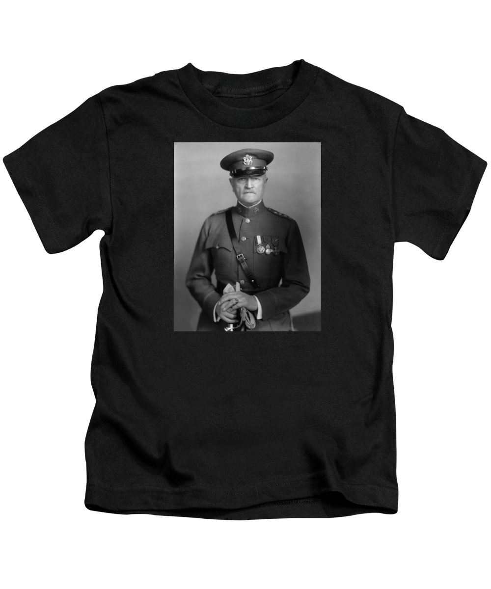 General Pershing Kids T-Shirt featuring the photograph General John Pershing by War Is Hell Store