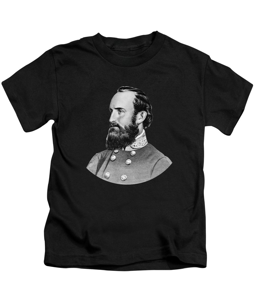 Stonewall Jackson Kids T-Shirt featuring the painting General Stonewall Jackson - Five by War Is Hell Store