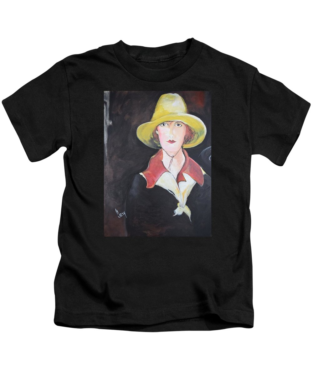 Girl Kids T-Shirt featuring the painting Girl In Riding Hat by Gary Smith