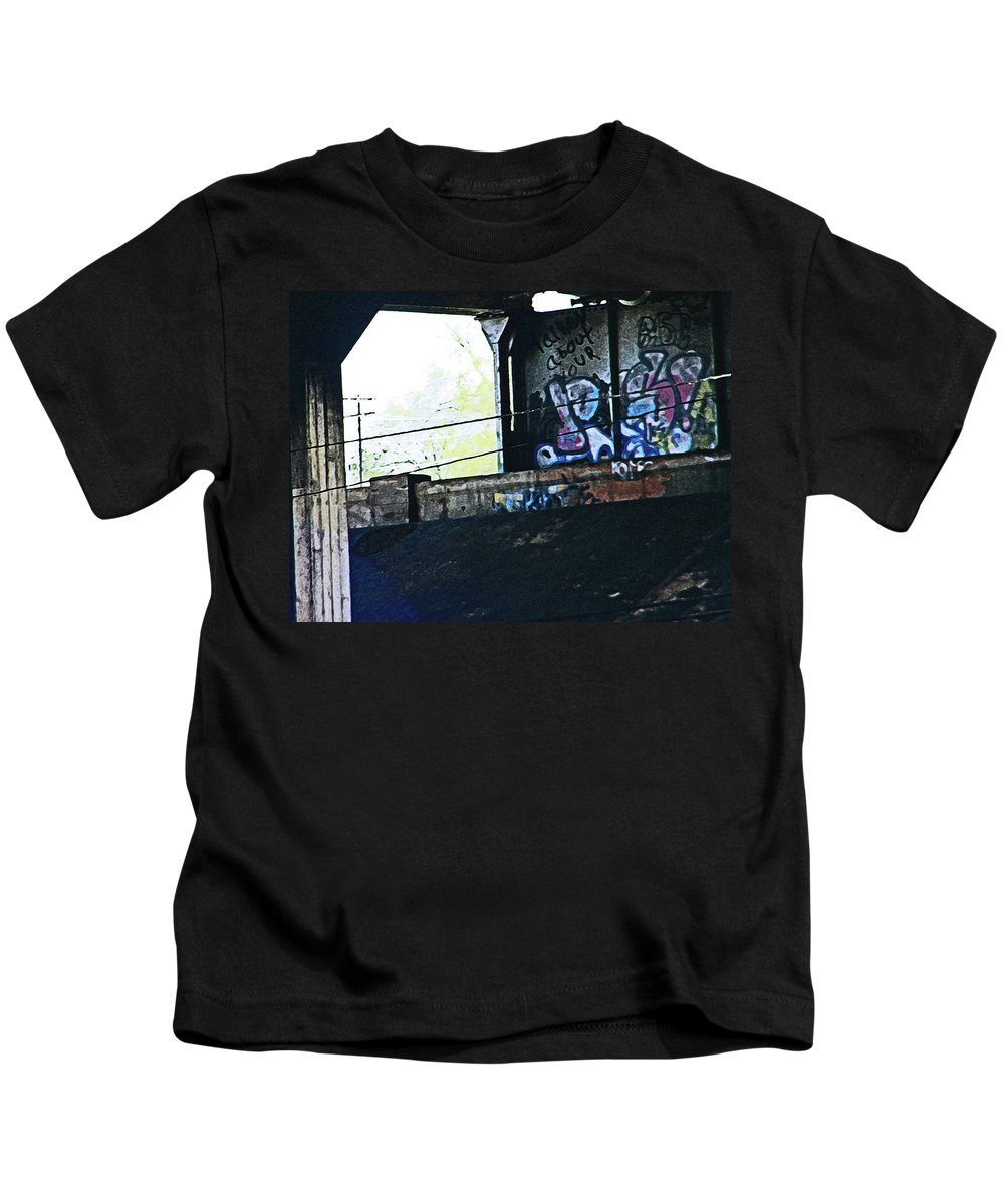Abstract Kids T-Shirt featuring the photograph Graffiti Under The Bridge by Lenore Senior