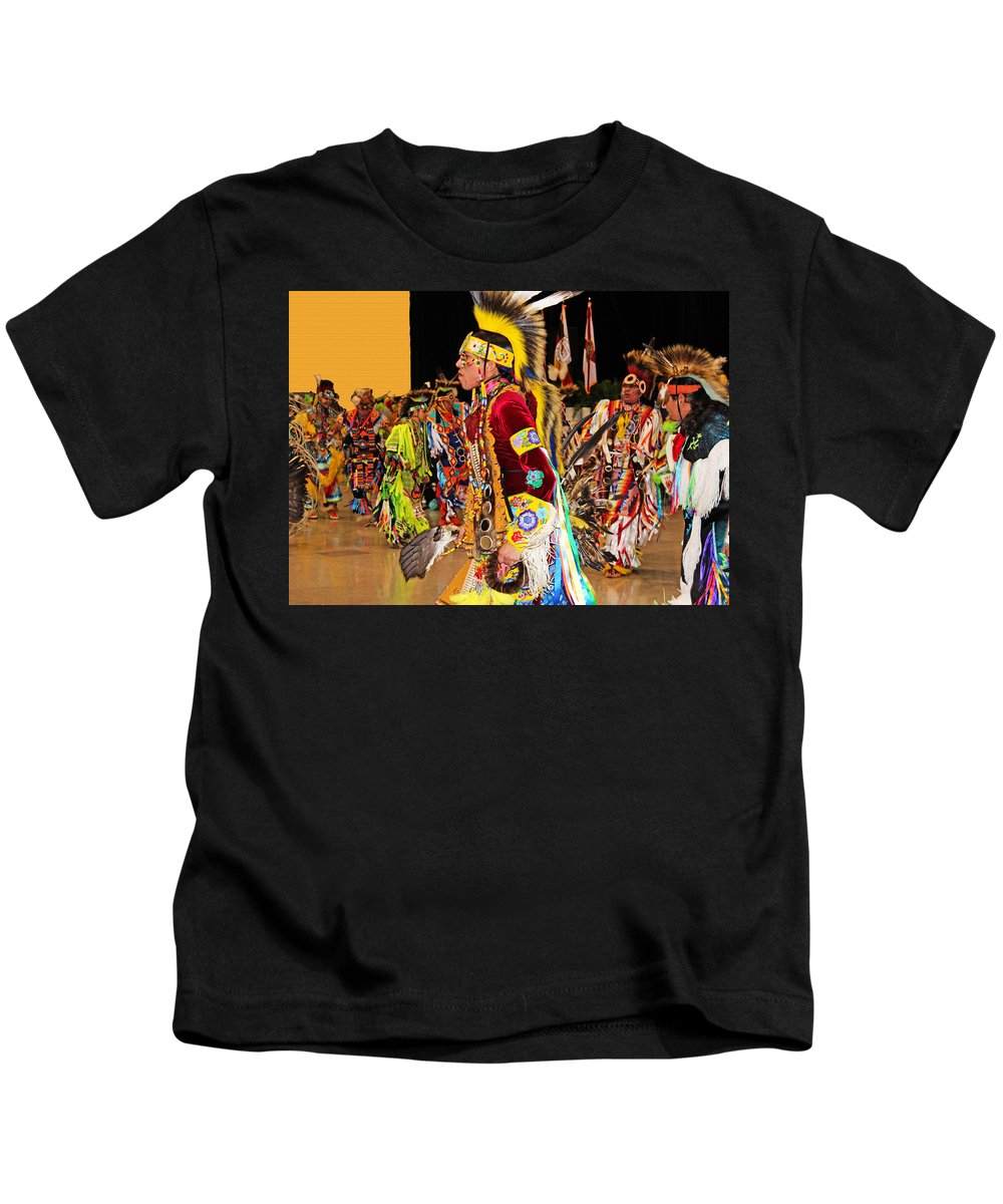 Native Americans Kids T-Shirt featuring the photograph Grand Entrance by Audrey Robillard