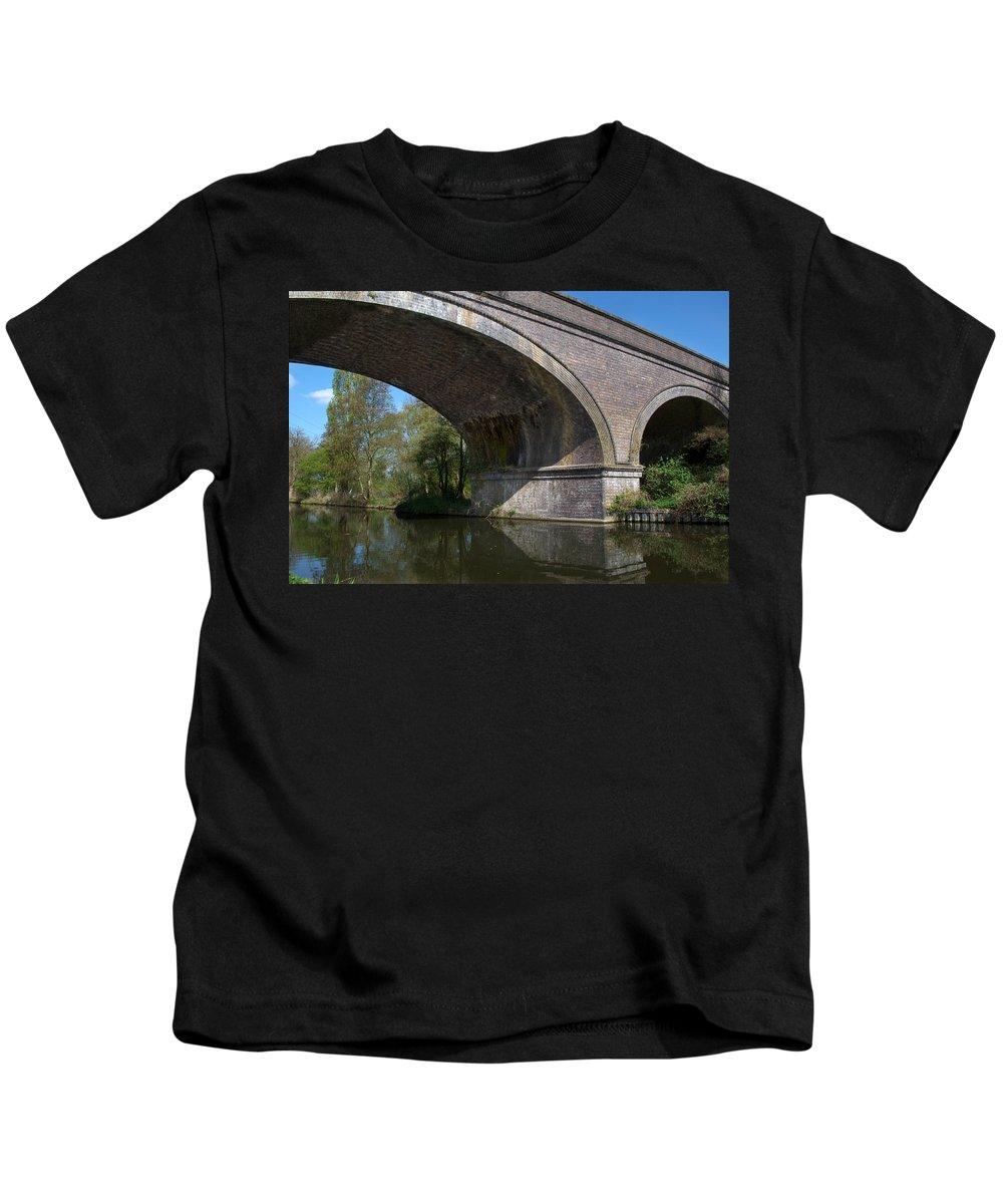 Bridge Kids T-Shirt featuring the photograph Grand Union Canal Bridge 181 by Chris Day
