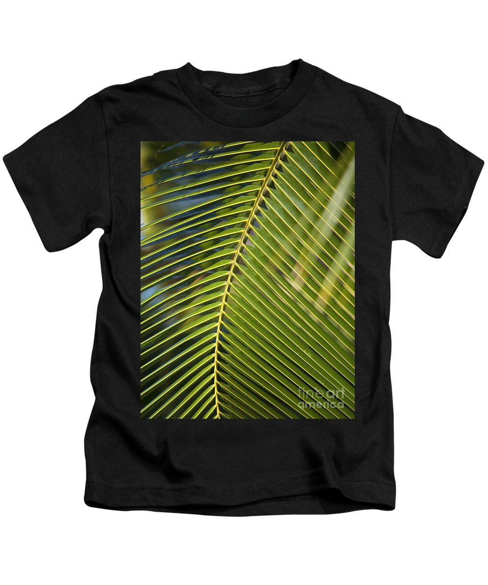 Angle Kids T-Shirt featuring the photograph Green Palm Leaf by Ron Dahlquist - Printscapes
