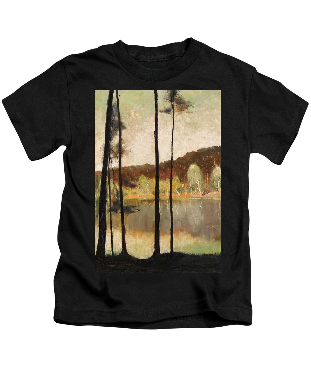 Lesser Ury 1861 - 1931 Grunewald Kids T-Shirt featuring the painting Grunewald by MotionAge Designs