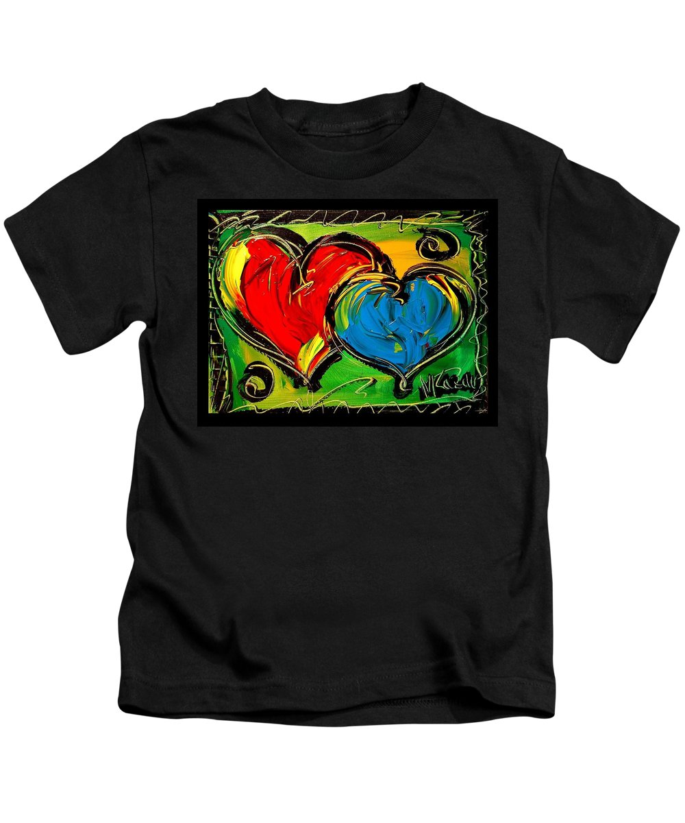 Kids T-Shirt featuring the painting Hearts by Mark Kazav