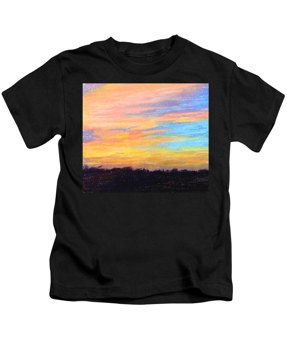 Landscapes Kids T-Shirt featuring the pastel Hill Country Sunrise by Shirley Bland