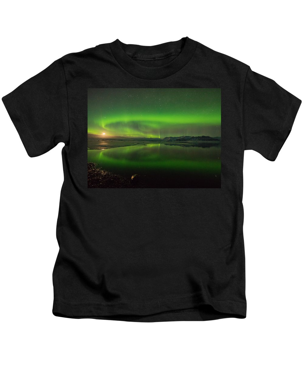 Iceland Kids T-Shirt featuring the photograph Iceland Aurora Reflection by Dan Leffel
