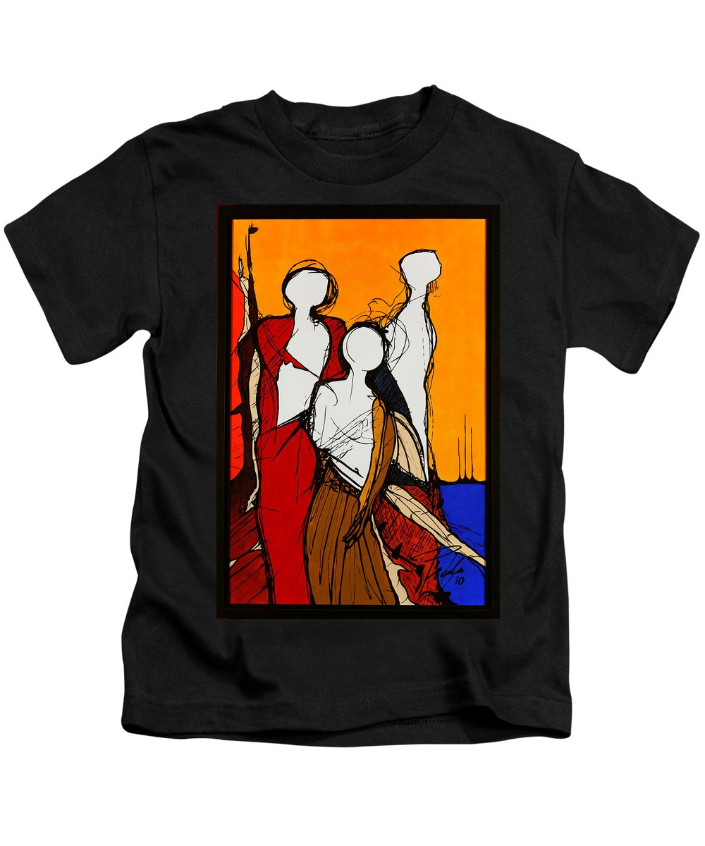 Lagoon Kids T-Shirt featuring the painting In The Lagoon by PAOLO Bianchi