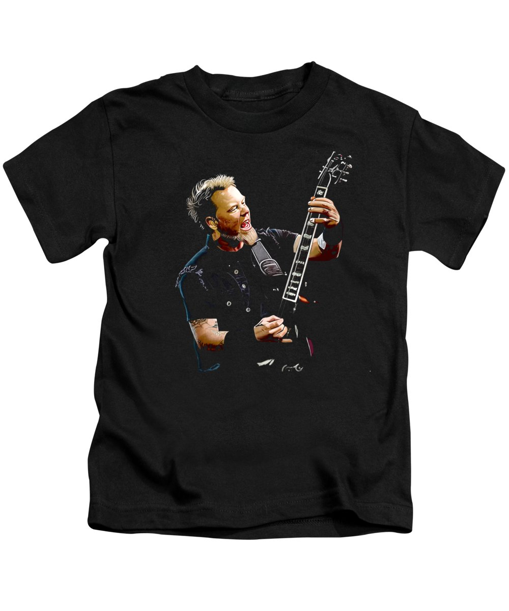 James Hetfield Kids T-Shirt featuring the digital art James Hetfield by Arumi Badgar