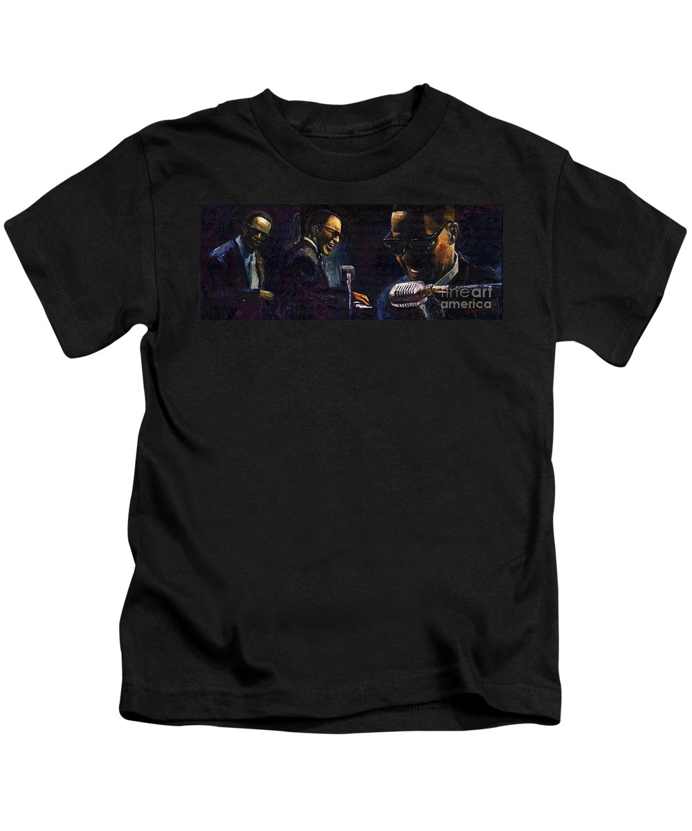 Jazz Kids T-Shirt featuring the painting Jazz Ray Charles by Yuriy Shevchuk