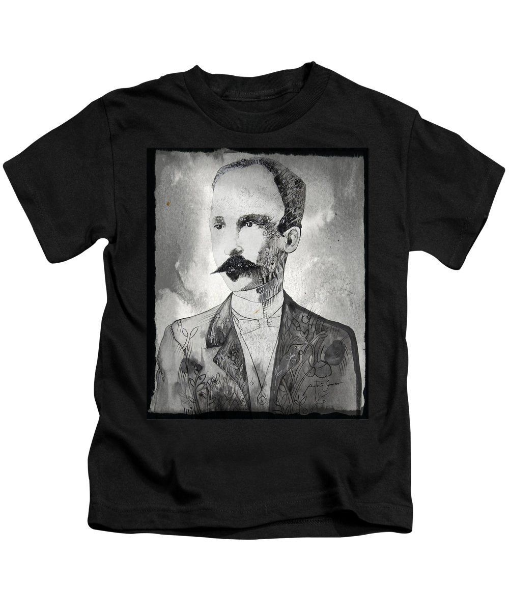 Drawings Kids T-Shirt featuring the drawing Jose Marti by Antonio Guerrero