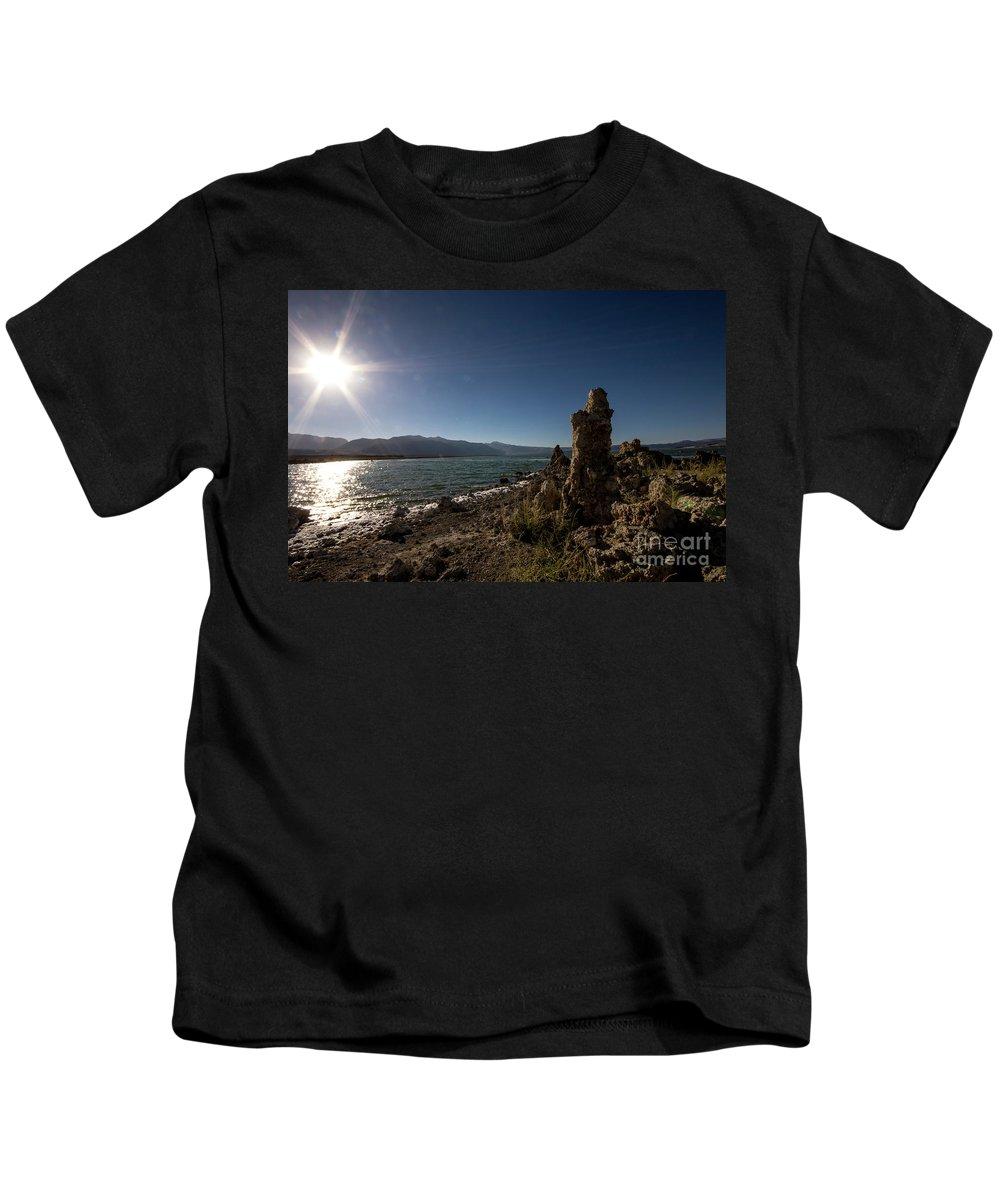 395 Kids T-Shirt featuring the photograph Lakefront And Sunset At Mono Lake, Eastern Sierra, California, U by Eiko Tsuchiya