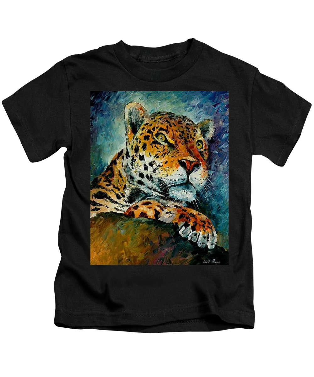 Animal Kids T-Shirt featuring the painting Leopard by Leonid Afremov