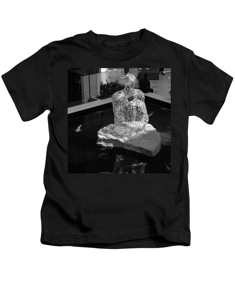 Black And White Kids T-Shirt featuring the photograph Letterman By Coy by Rob Hans