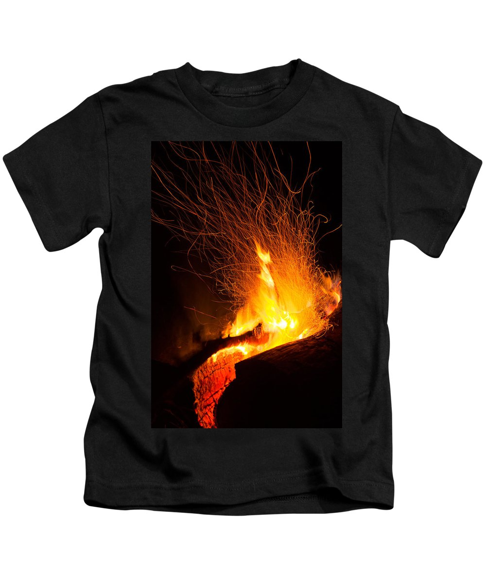 Background Kids T-Shirt featuring the photograph Log Campfire Burning At Night by John Williams