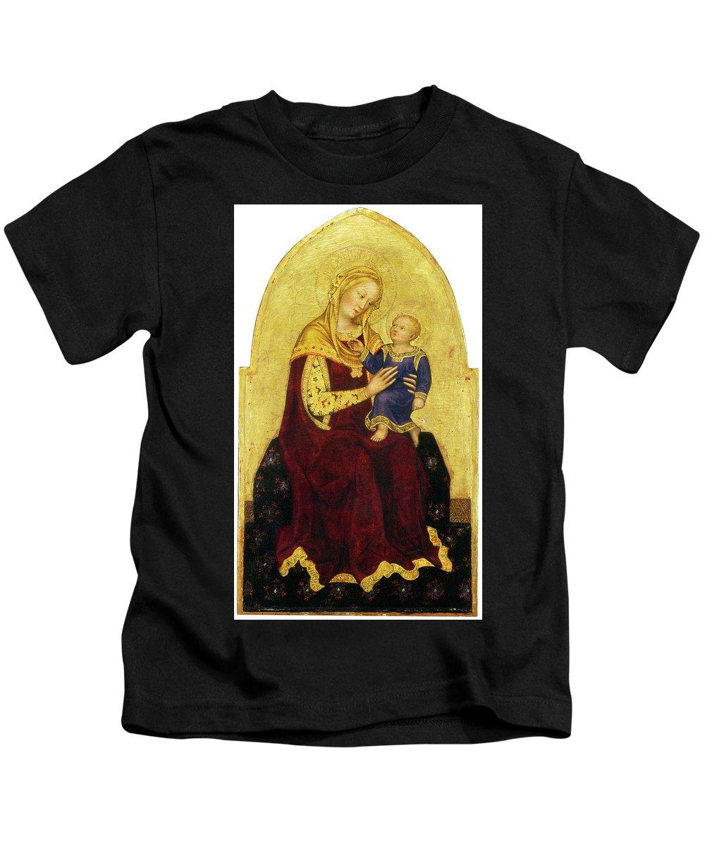 Madonna And Child Enthroned Kids T-Shirt featuring the painting Madonna And Child Enthroned by Gentile da Fabriano