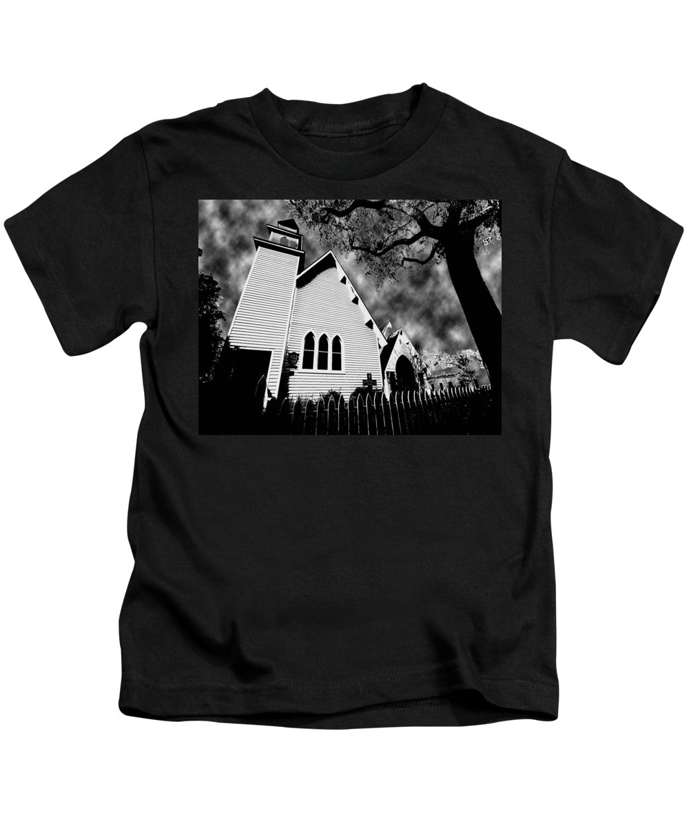 Church Kids T-Shirt featuring the painting Magnolia Springs Alabama Church by Michael Thomas