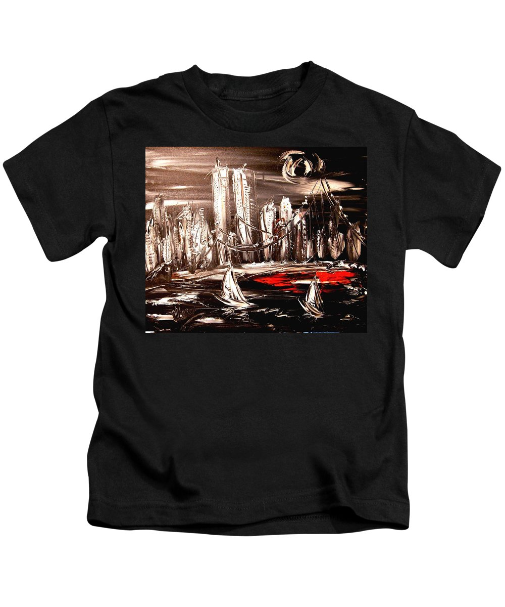 Red Poppies Kids T-Shirt featuring the painting Manhattan by Mark Kazav