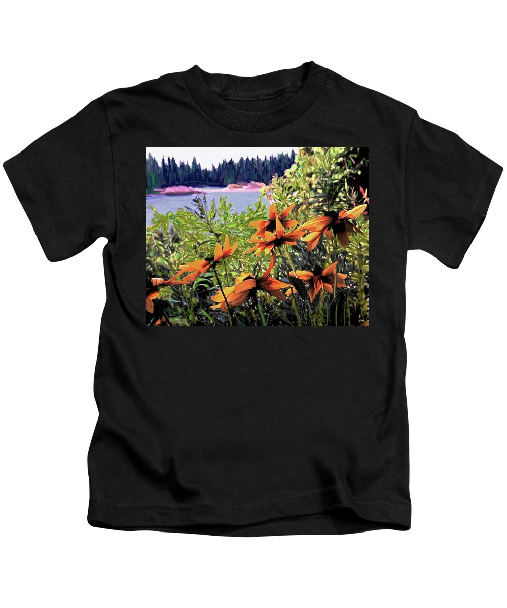 Manitoulin Kids T-Shirt featuring the digital art Manitoulin Shores by Ian MacDonald