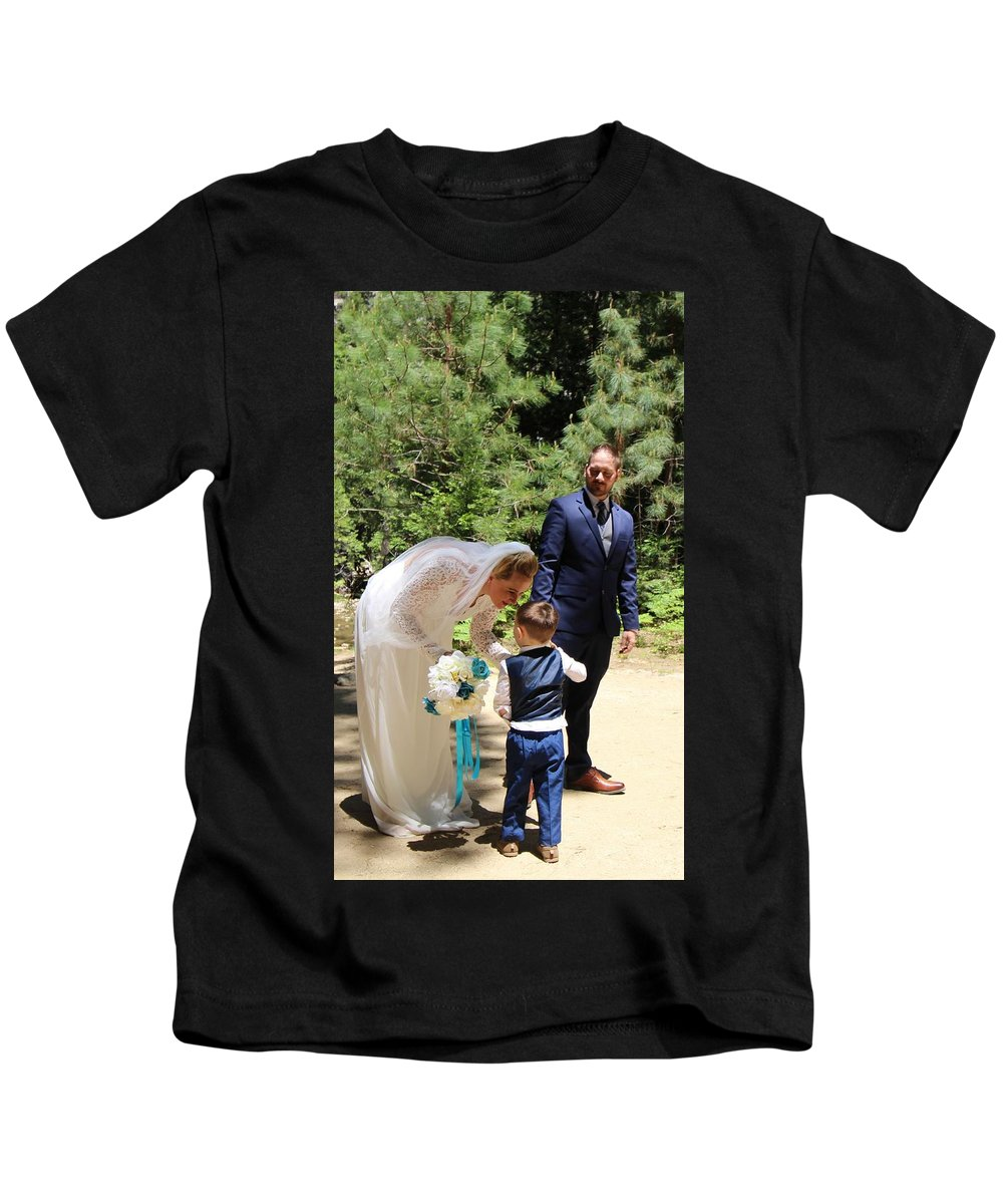 Kids T-Shirt featuring the painting Married by Travis Day