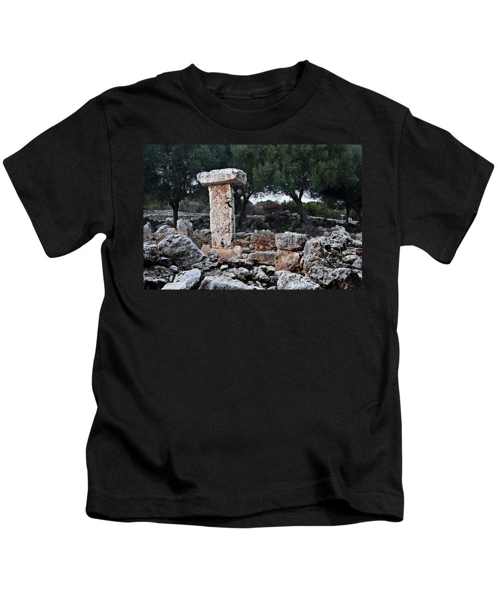 Nobody Kids T-Shirt featuring the photograph Megalithic Taula In Binisafua Menorca Bronze Age by Pedro Cardona Llambias