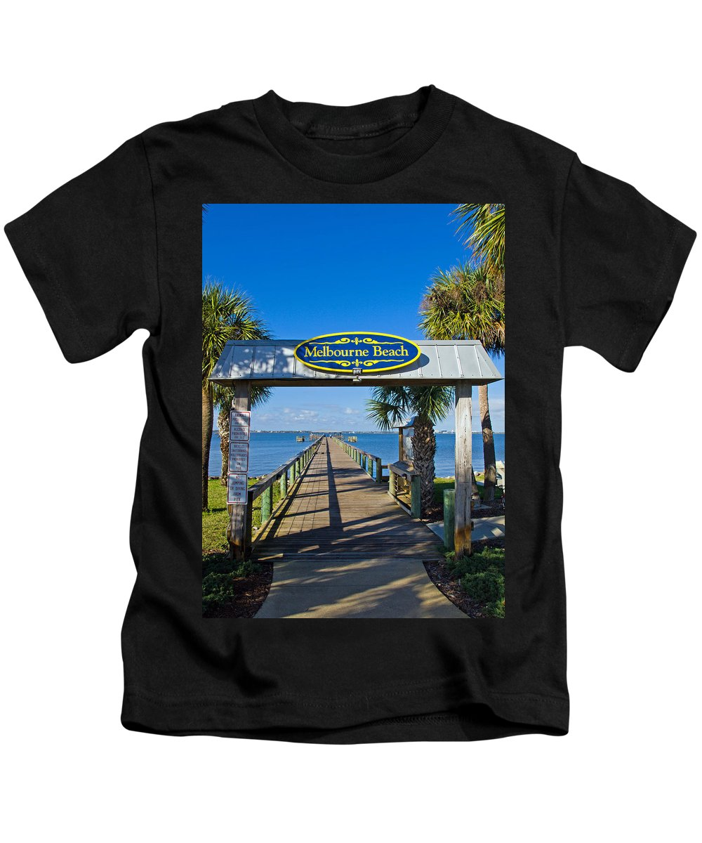 Florida; Melbourne; Beach; Atlantic; Coast; East; Space; Pier; Pineapples; Steamboat; Load; Cargo; I Kids T-Shirt featuring the photograph Melbourne Beach Florida by Allan Hughes
