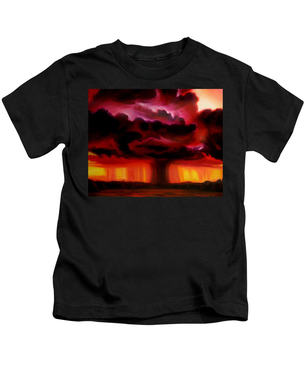 Skyscape Kids T-Shirt featuring the painting Microburst by James Christopher Hill