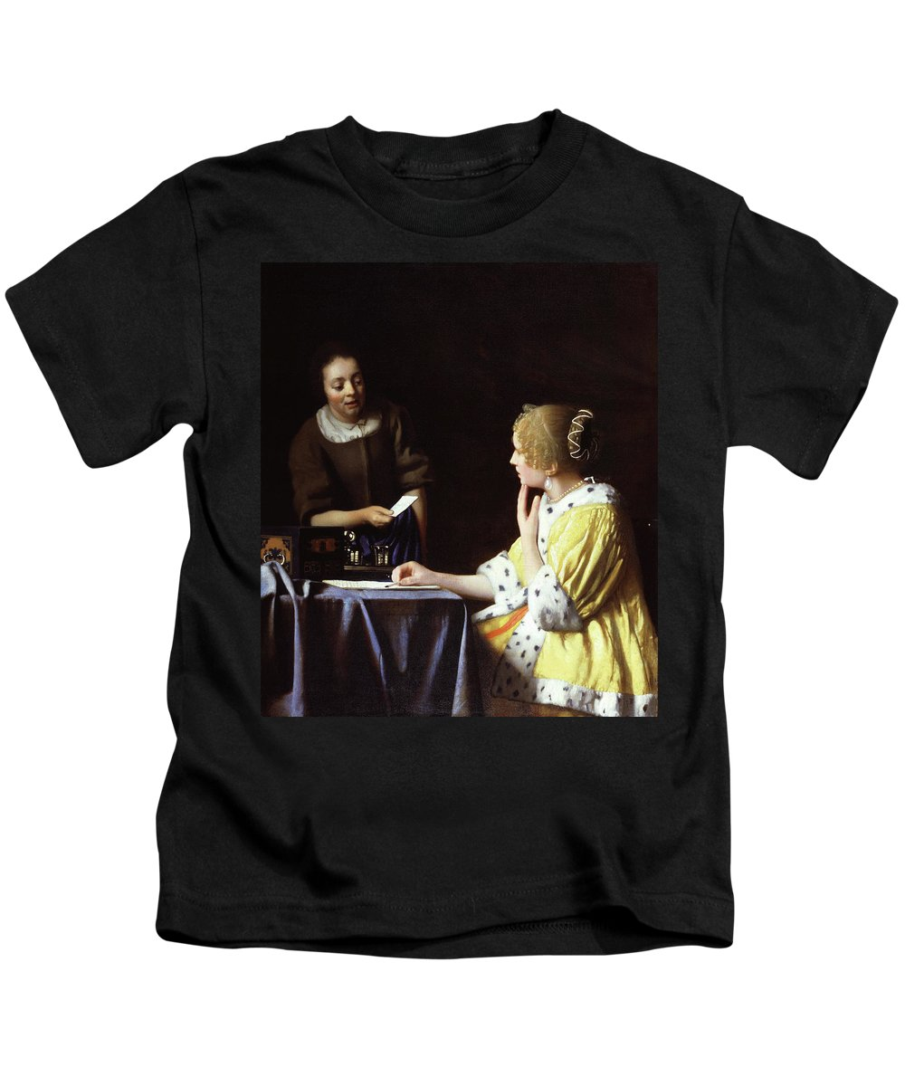 Vermeer Kids T-Shirt featuring the painting Mistress And Maid by Jan Vermeer