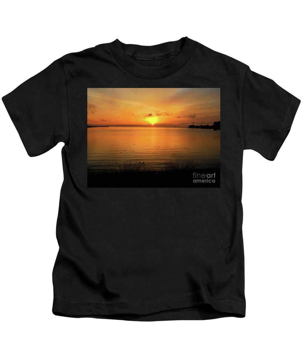 Oysterbay-sunrise Kids T-Shirt featuring the photograph Morning Calm by Scott Cameron