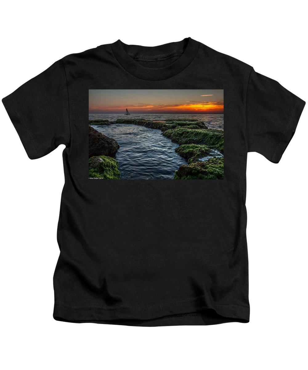 Sunset Landscape Sea Boat Kids T-Shirt featuring the pyrography Romantic Sunset by Bilal Zedan