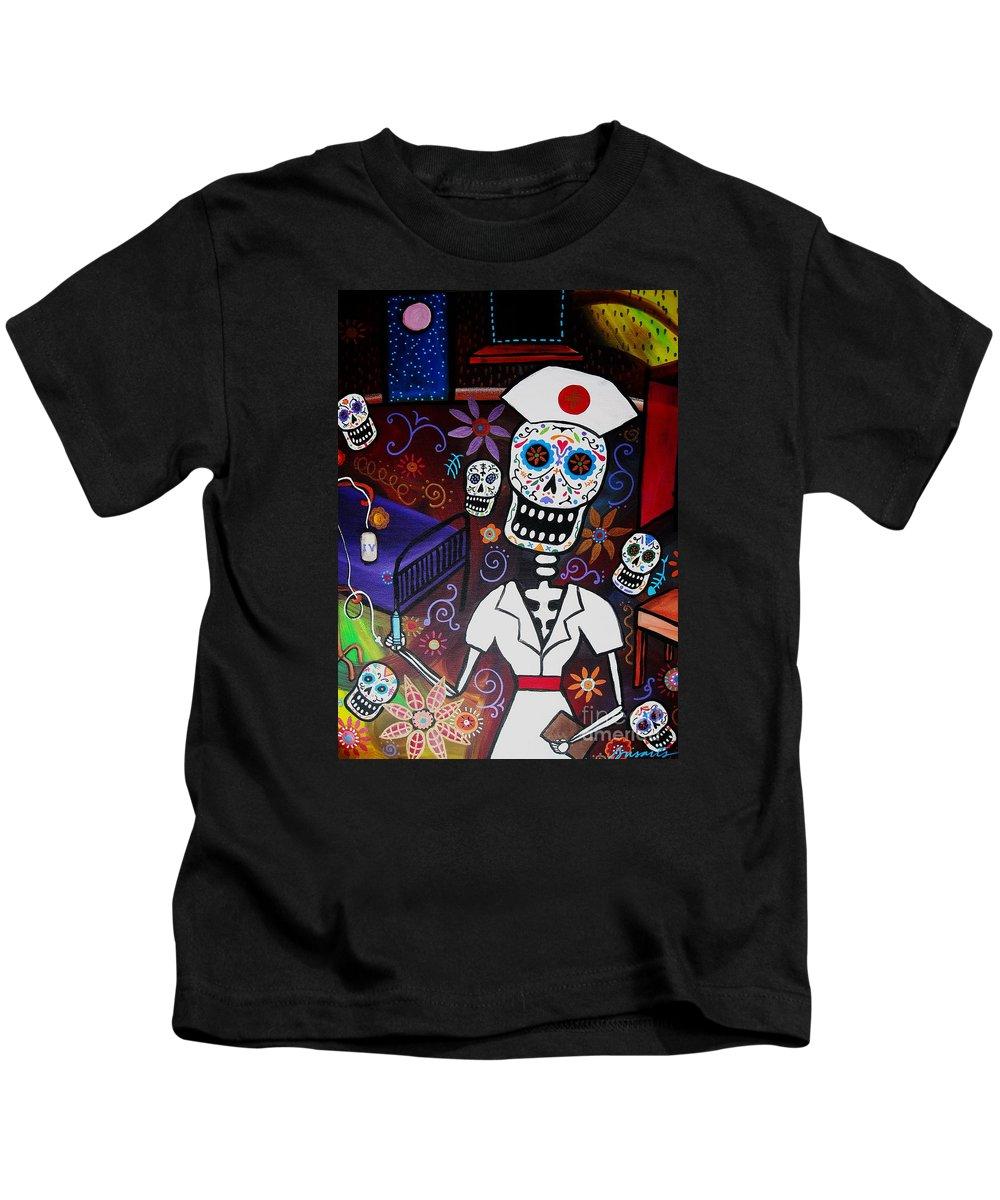 Nurse Kids T-Shirt featuring the painting Nurse Dia De Los Muertos by Pristine Cartera Turkus