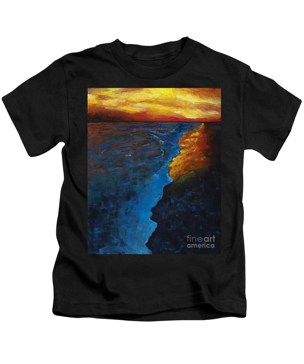 Abstract Ocean Kids T-Shirt featuring the painting Ocean Sunset by Frances Marino