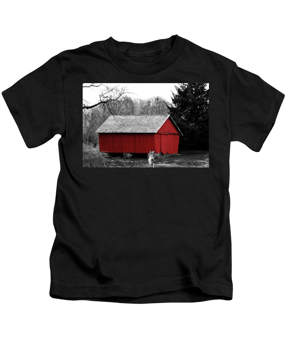Red Kids T-Shirt featuring the photograph Old Red by Lori Tambakis