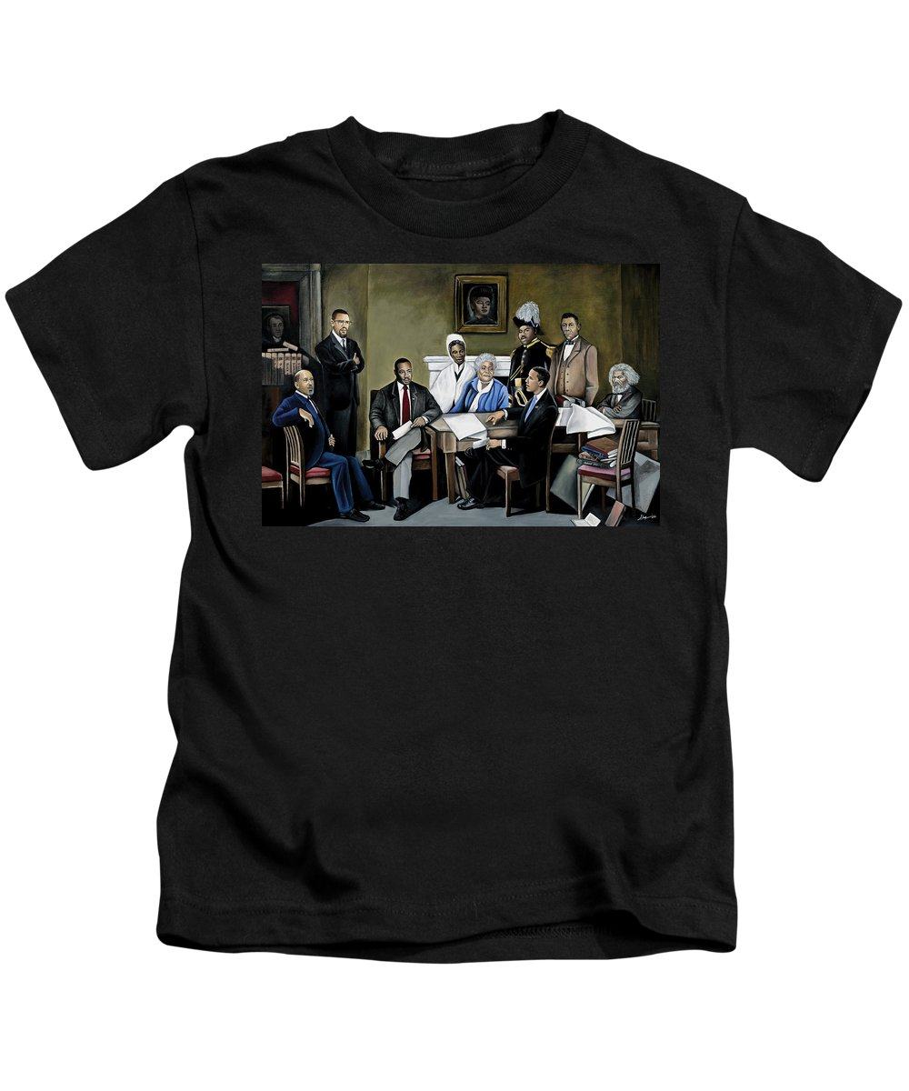 President Barack Obama Kids T-Shirt featuring the painting One Day by Stacy V McClain