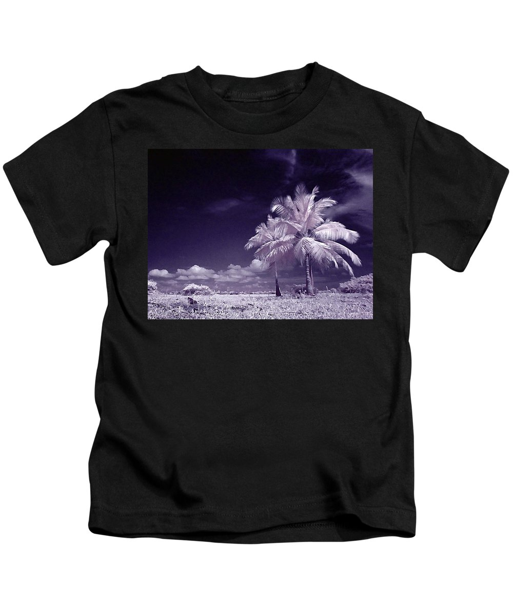 Infrared Kids T-Shirt featuring the photograph Palms by Galeria Trompiz