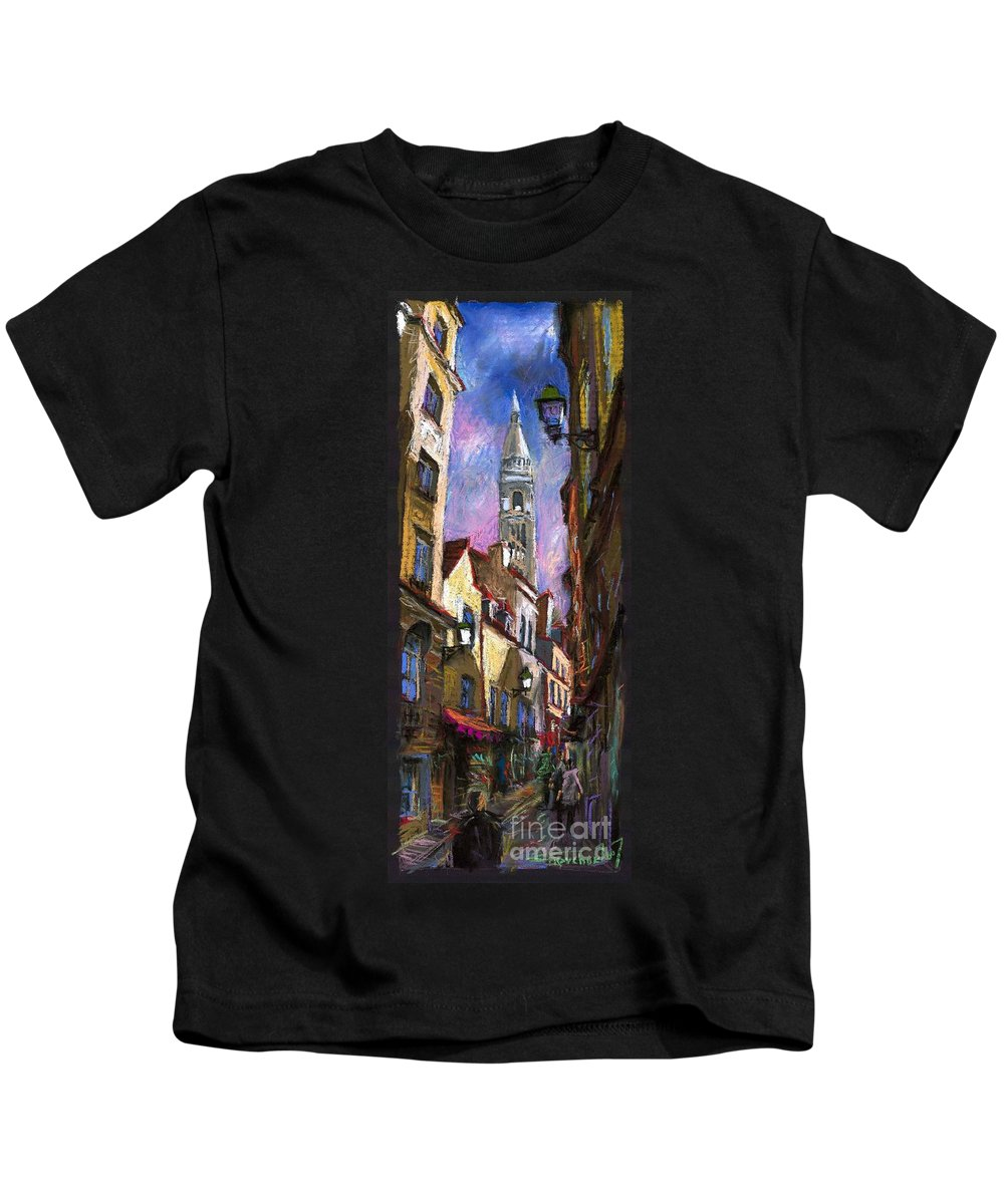 Pastel Kids T-Shirt featuring the painting Paris Montmartre by Yuriy Shevchuk