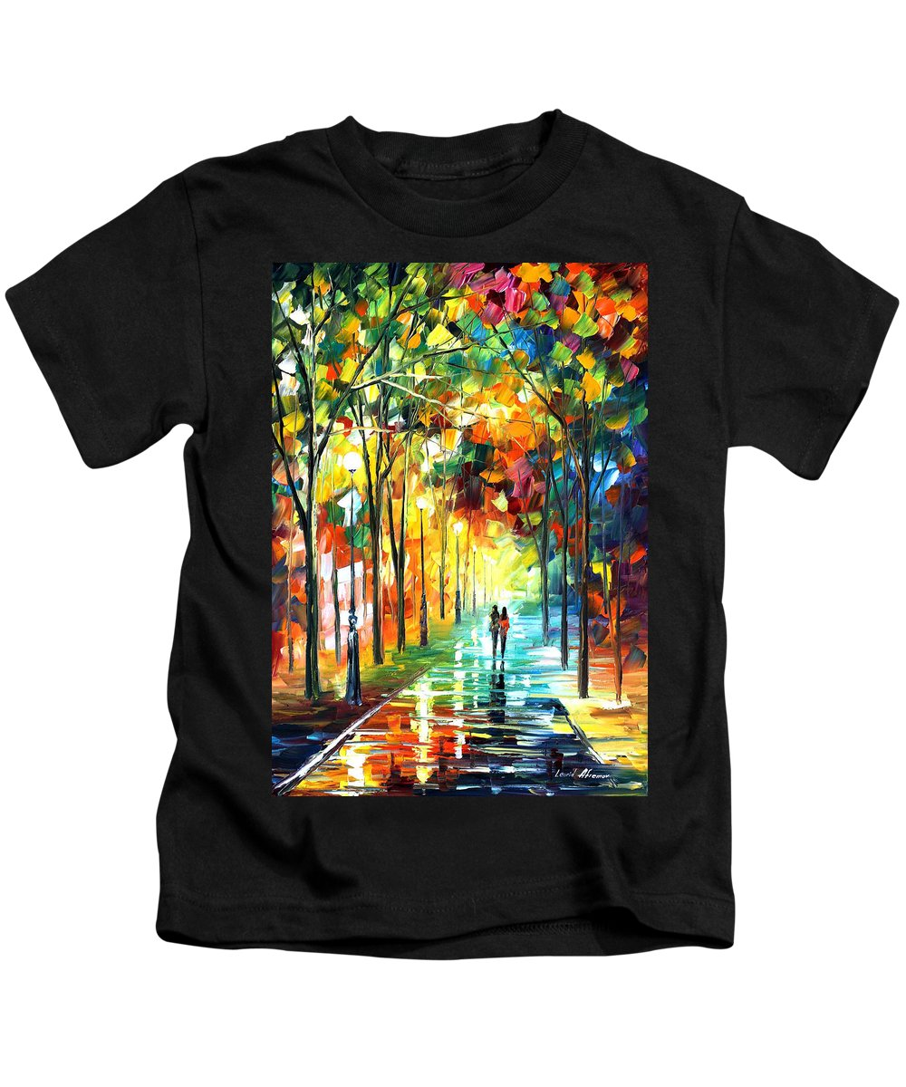 Landscape Kids T-Shirt featuring the painting Park by Leonid Afremov