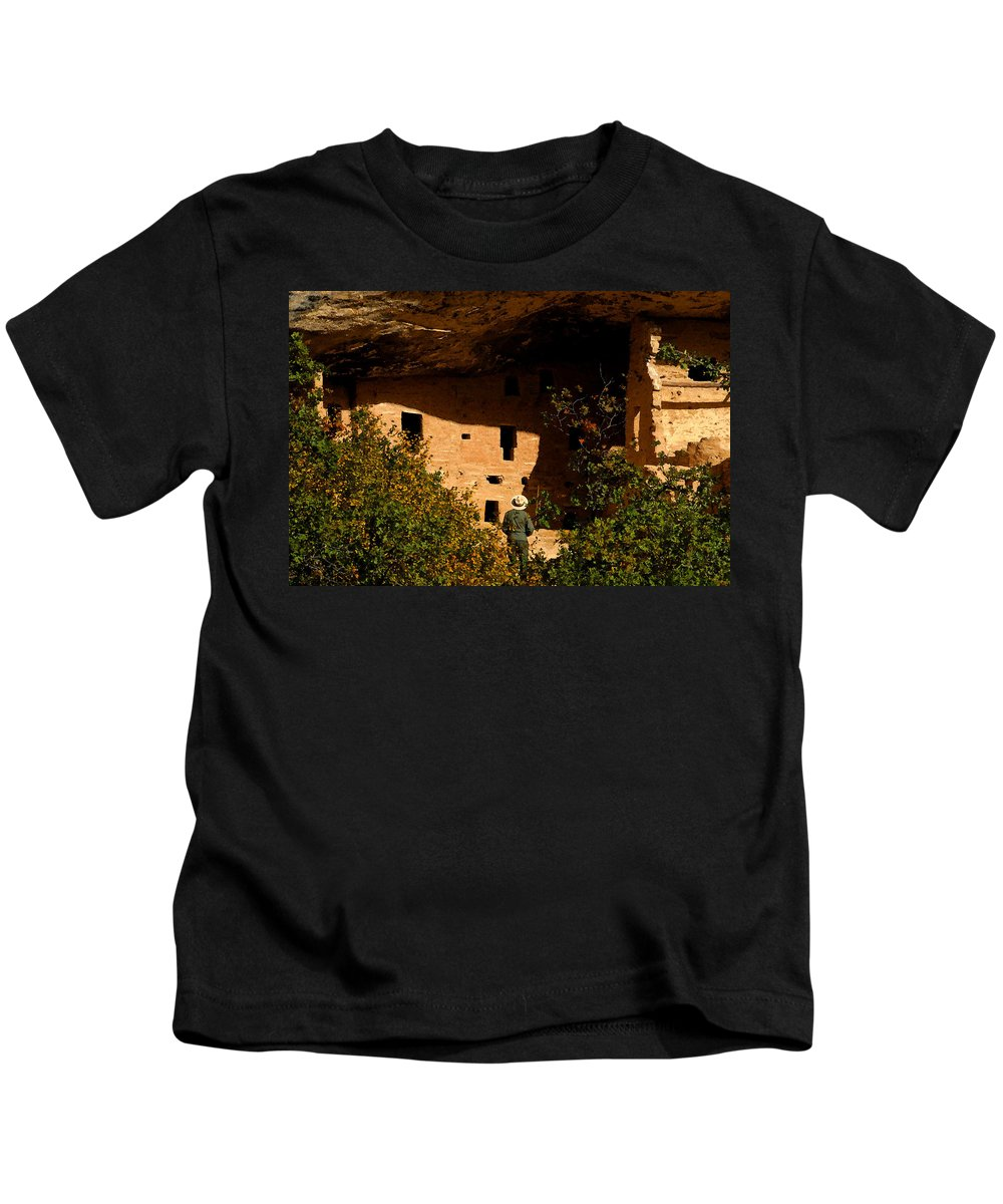 Mesa Verde National Park Colorado Kids T-Shirt featuring the painting Park Ranger by David Lee Thompson