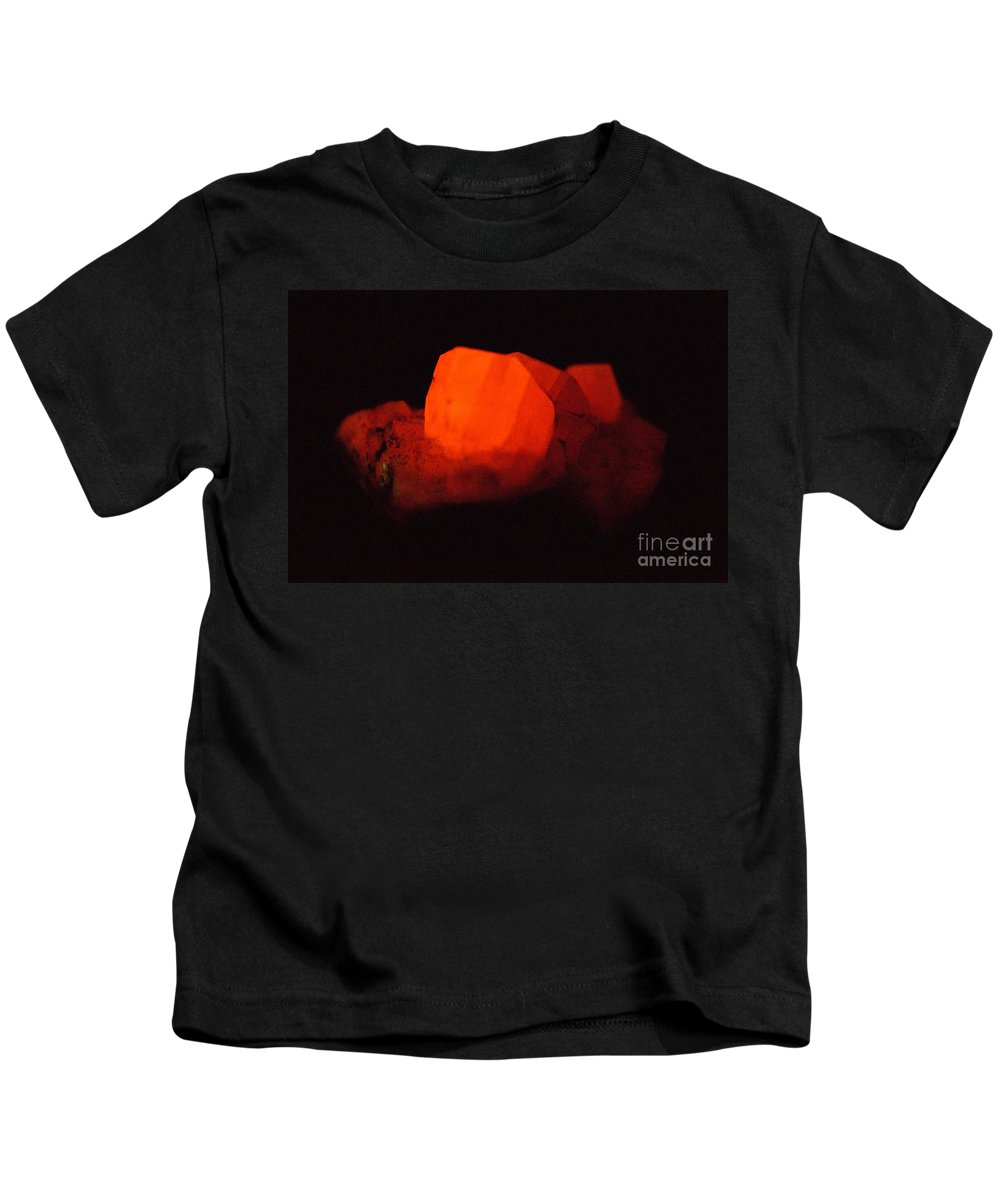 Geology Kids T-Shirt featuring the photograph Phosphorescent Calcite Crystal by Ted Kinsman