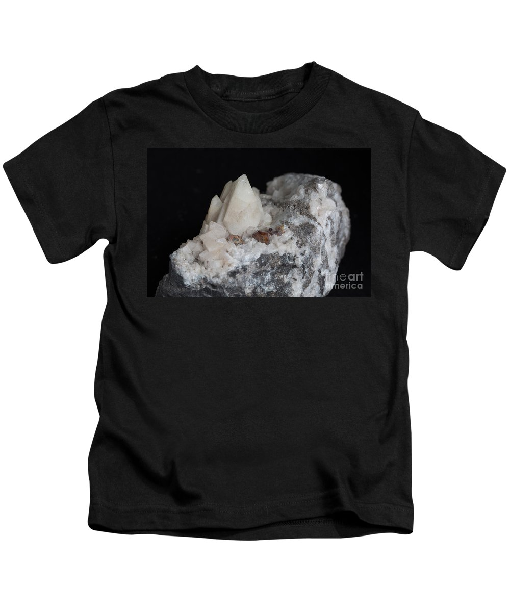 Geology Kids T-Shirt featuring the photograph Phosphorescent Calcite On Dolomite by Ted Kinsman