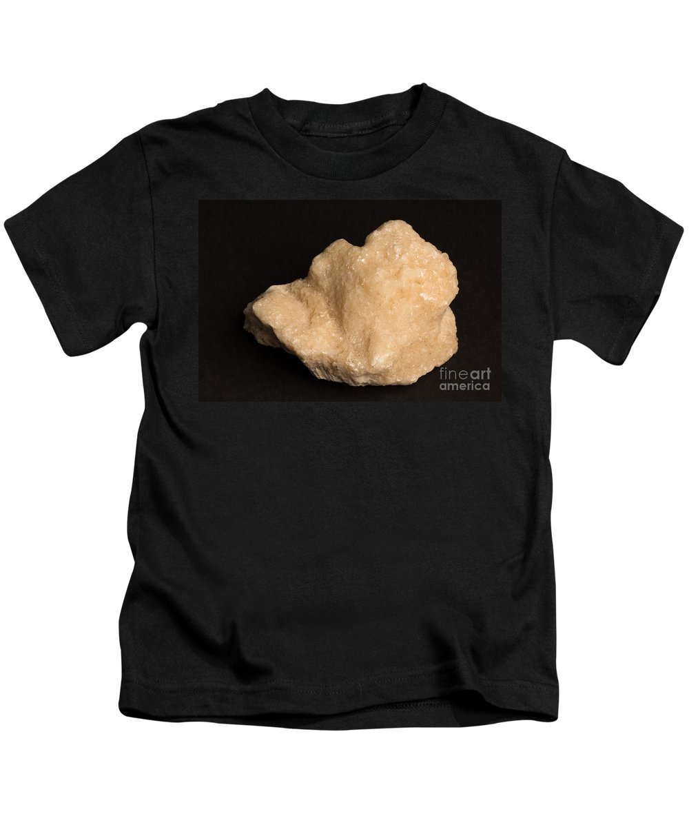 Geology Kids T-Shirt featuring the photograph Phosphorescent Calcite On Fossilized by Ted Kinsman